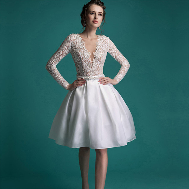 Vintage Short Lace Wedding Dress Knee Length V neck A line Pearls ...