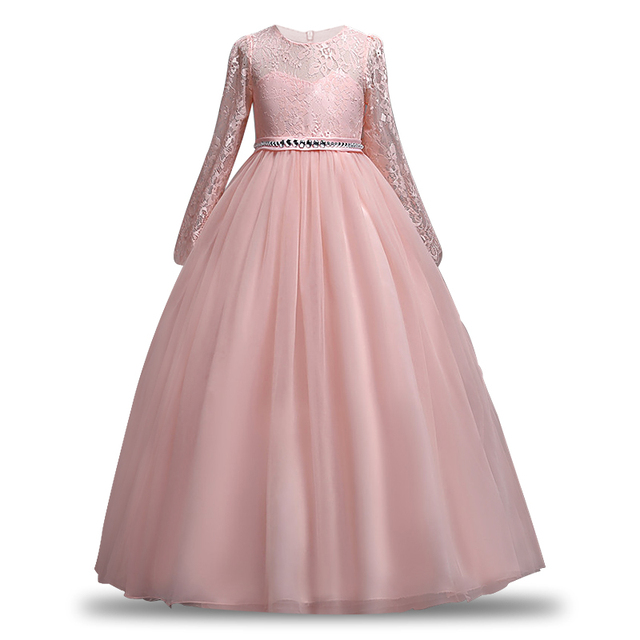 2019 Teen party Girls Wedding Dress Long sleeve Lace flower Party Tulle  Princess Birthday Dress Gown 844cf39014cd