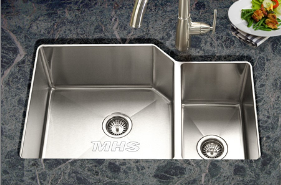 Cinque lato lavelli con angolato angoli doppia vasca sottotop lavelli da cucina in acciaio mb - Lavandino doppia vasca cucina ...