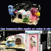Single Layer Hamster Cage Funny Guinea Pig Cage Small Pets Mice House Chinchilla Hedgehog Hamster Acrylic Accessories 25x20x15cm