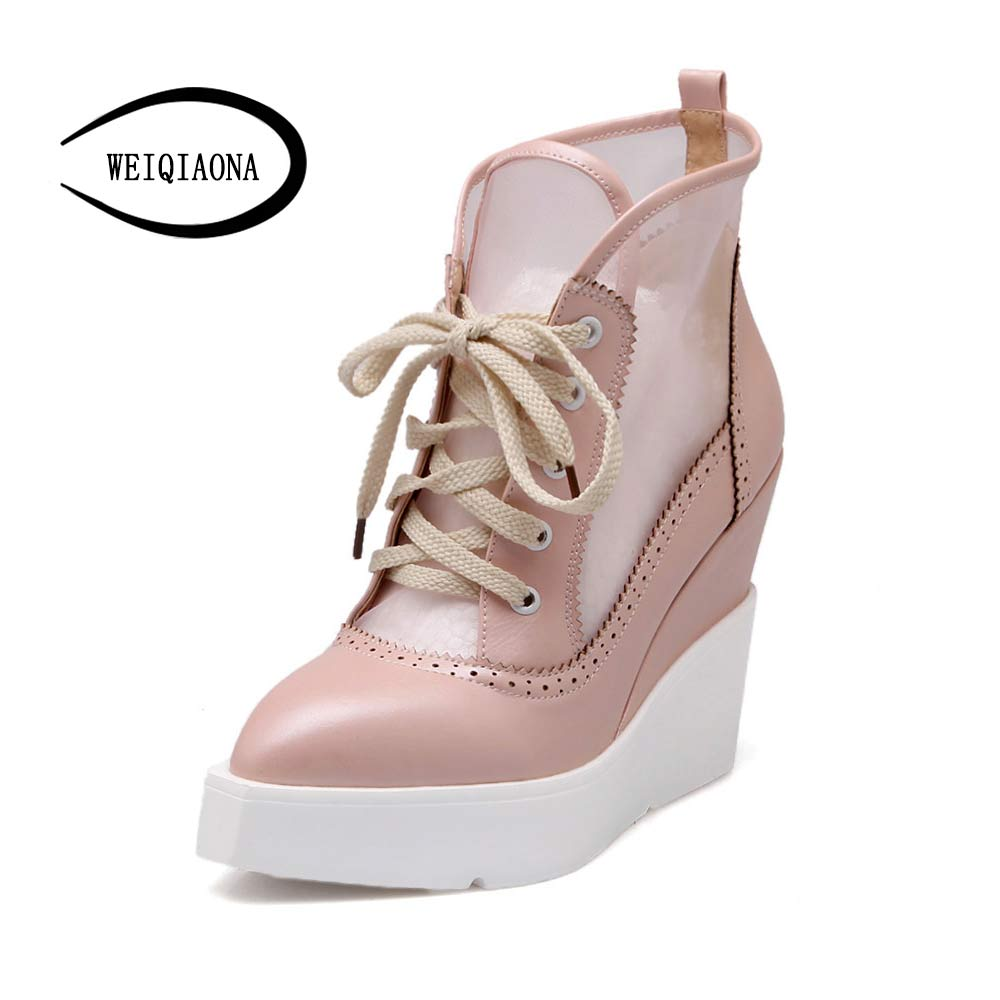 Mesh Platform Wedge Lace Up Open Toe Shoes