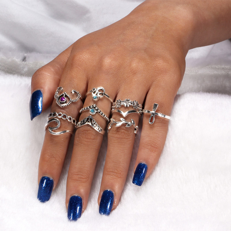Antique Silver Midi Finger Rings Vintage Knuckle Ring Set for Women Anel Aneis Bague Femme Jewelry Boho Anillos Mujer