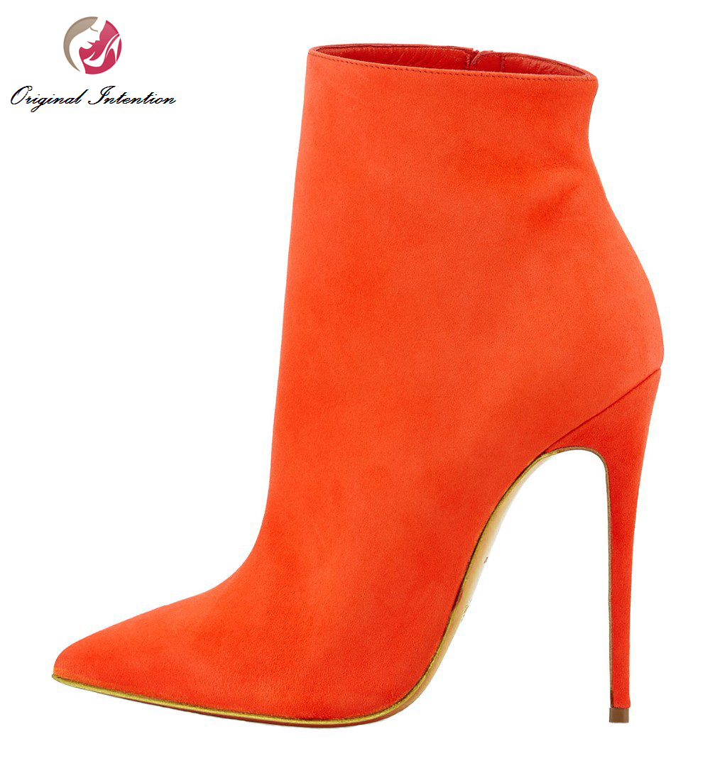 Original Intention Stylish Women Ankle Boots Flock Pointed Toe Thin High Heels Boots Comfortable Shoes Woman Plus US Size 4-15 new 2017 spring summer women shoes pointed toe high quality brand fashion womens flats ladies plus size 41 sweet flock t179