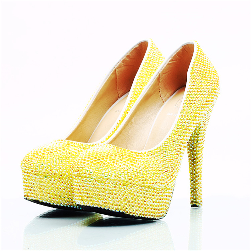 Dazzling Lemon Yellow Crystal Wedding Shoes Round Toe Super High Heels Women Pumps for Bride Nightclube Evening Dress Banquet-in Women's Pumps from Shoes    3