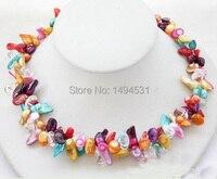 bán buôn trang sức ngọc trai 2 hàng 19 inches màu đỏ màu vàng xanh Biwa chính hãng ngọc trai pha lê hạt vòng cổ thủ công đồ trang sức- xzn62