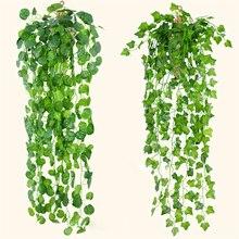 Искусственные зеленые листья плюща стены для украшения комнаты украшения поддельные растения лоза ротанга Свадьба para Крытый искусственное растение Сад 90 см