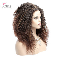 StrongBeauty Lace Front Wig For Women Long Kinky Curly Ombre Brown Synthetic Lace Wigs