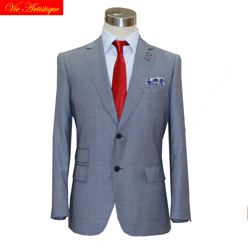 custom tailor made suits 3 pieces jacket pant vest Worsted wool Men's groom tuxedos slim fit wedding blue birdeye plaid lattices 1