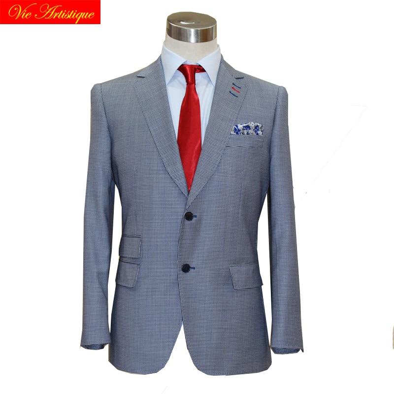 custom tailor made suits 3 pieces jacket pant vest Worsted wool Men's groom tuxedos slim fit wedding blue birdeye plaid lattices 1