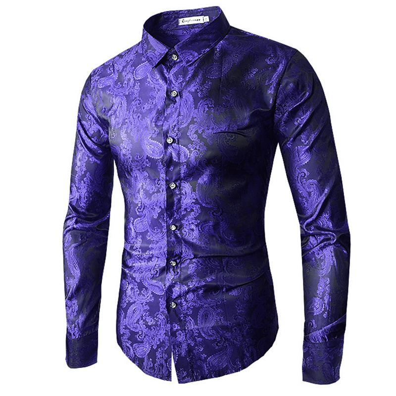 High quality 2019 Male Long Sleeve Shirts Red Gold Purple Blue men's embroidery dress shirt Fashion Slim Wedding Party Bussiness