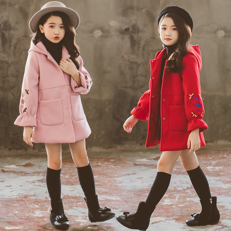 2018 Autumn Winter Girls Woolen Coat Pink Red Flower Design Petal Sleeves Long Jacket for Kids Baby Girl Fashion Embroidery Coat deep blue fashion long sleeves side pockets embroidery jacket