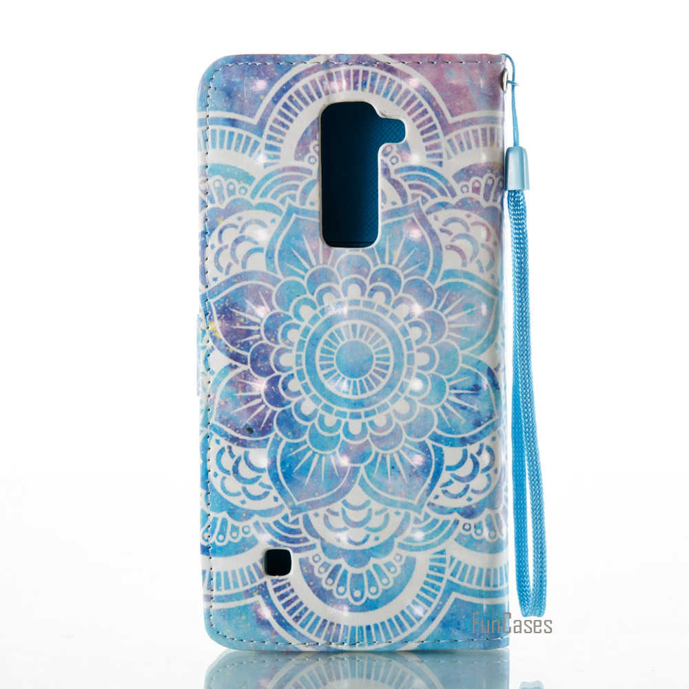 Funda 3D Painted PU leather Flip Case For LG K7 Golden Flower Wallet Phone Bag For LG LS775 Mandala For LG Stylus 3 Capinha ajax