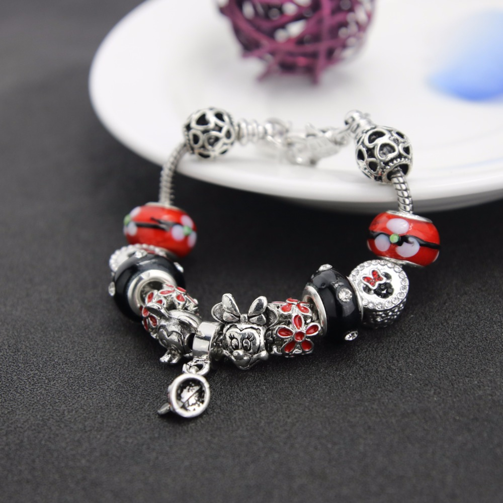 Image result for BAOPON A Variety of Design Charm Bracelet with Mickey Enamel Beads Women&Child Glass Pandora Bracelet Fit Women Jewelry