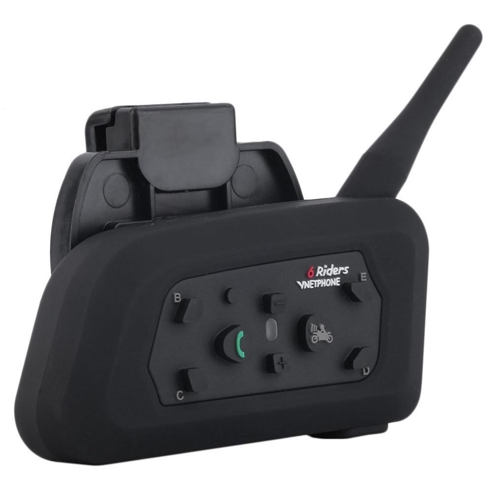 Professional V6 Motorcycle Helmet Intercom EU/US Plug 6 Riders 1200M Bluetooth Intercom Headset Walkie Talkie BT Interphone 2pcs mini walkie talkie uhf interphone transceiver for kids use two way portable radio handled intercom free shipping