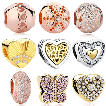 Fit Authentic Charm Bracelet Original Sterling Silver 925 Fashion DIY Heart Crown Honey Bee Love Charms Beads For Jewelry Making