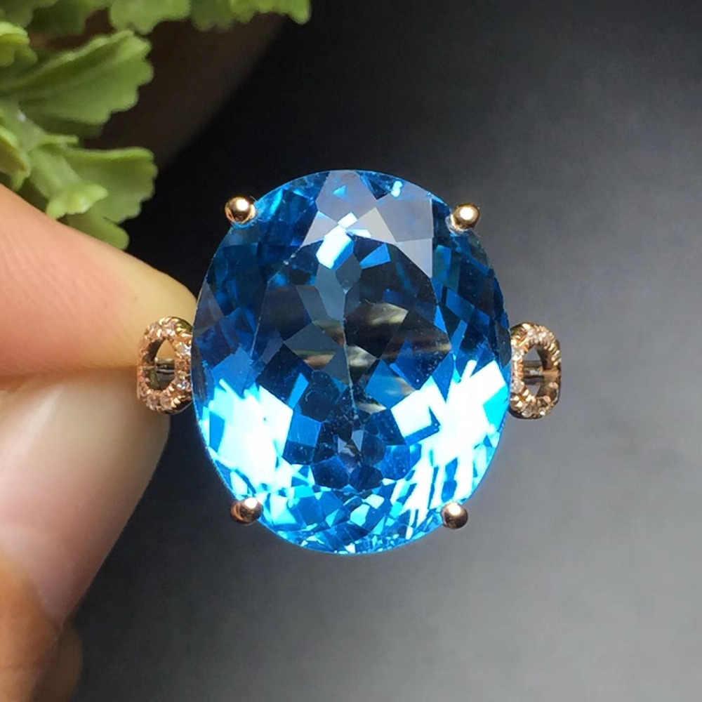 Jóias finas Personalizar O Tamanho Real 18 K Rose Gold Jóias AU750 100% Natural Pedra Preciosa Topázio Azul Anéis para As Mulheres do Sexo Feminino Fina anel