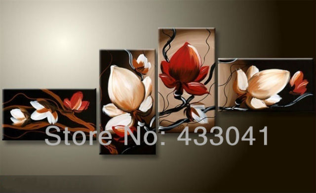 Handmade 4 piece set modern abstract black red white flower oil painting on canvas home bed