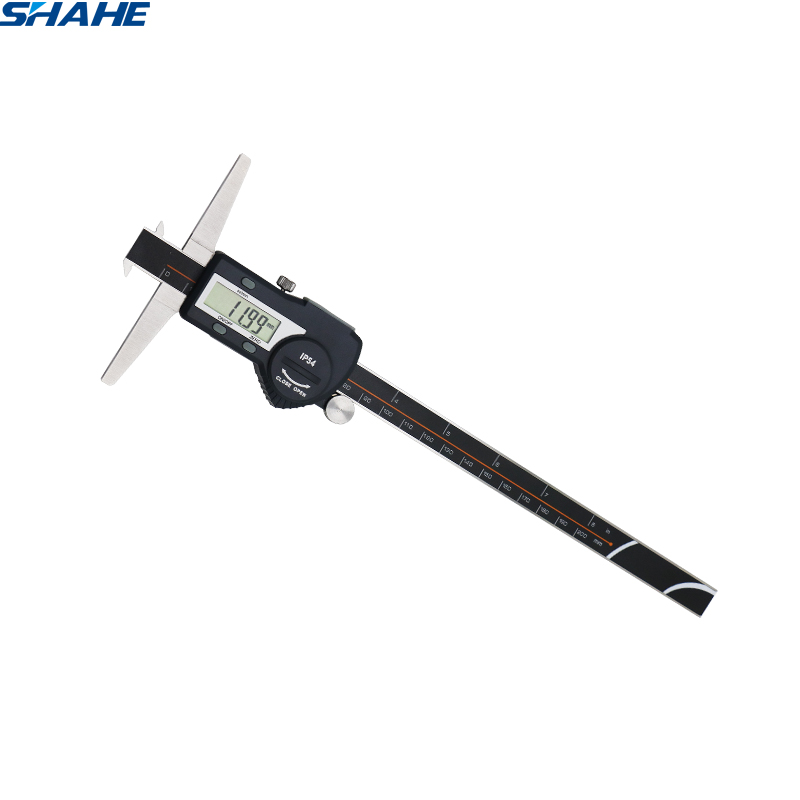 shahe 0 200 mm double hooks depth gauge lcd digital electronic caliper paquimetro digital 200 mm