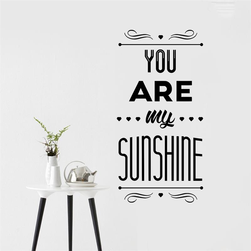 You are my sunshine love quotes wall sticker home decor poster you are my sunshine love quotes wall sticker home decor poster bedroom living room wall decals wallpaper wedding decoration in wall stickers from home junglespirit Gallery