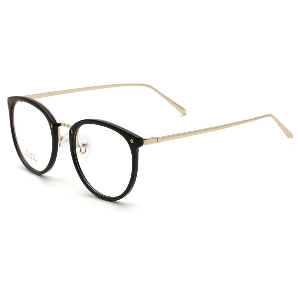 new hot small fresh women glasses frame tr90 diopter computer glasses men gold round black frame