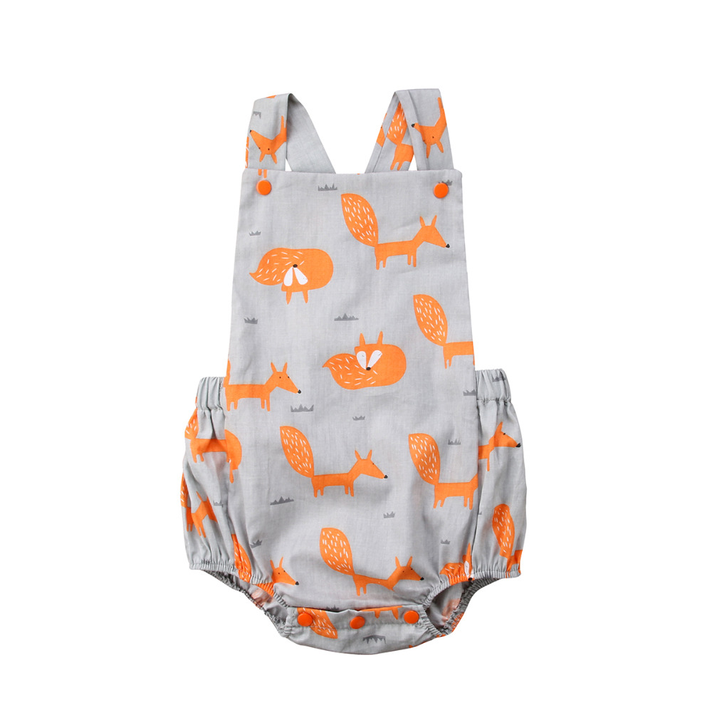 Newborn Baby Girls Cute Fox Romper Backless  Jumpsuit Sunsuit Outfit Clothes Baby Clothing