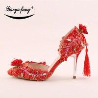 New 2018 Fashion Shoes Tassels Womens Wedding Shoes Bride Party Dress Shoes Ladies 9cm Thin Heel