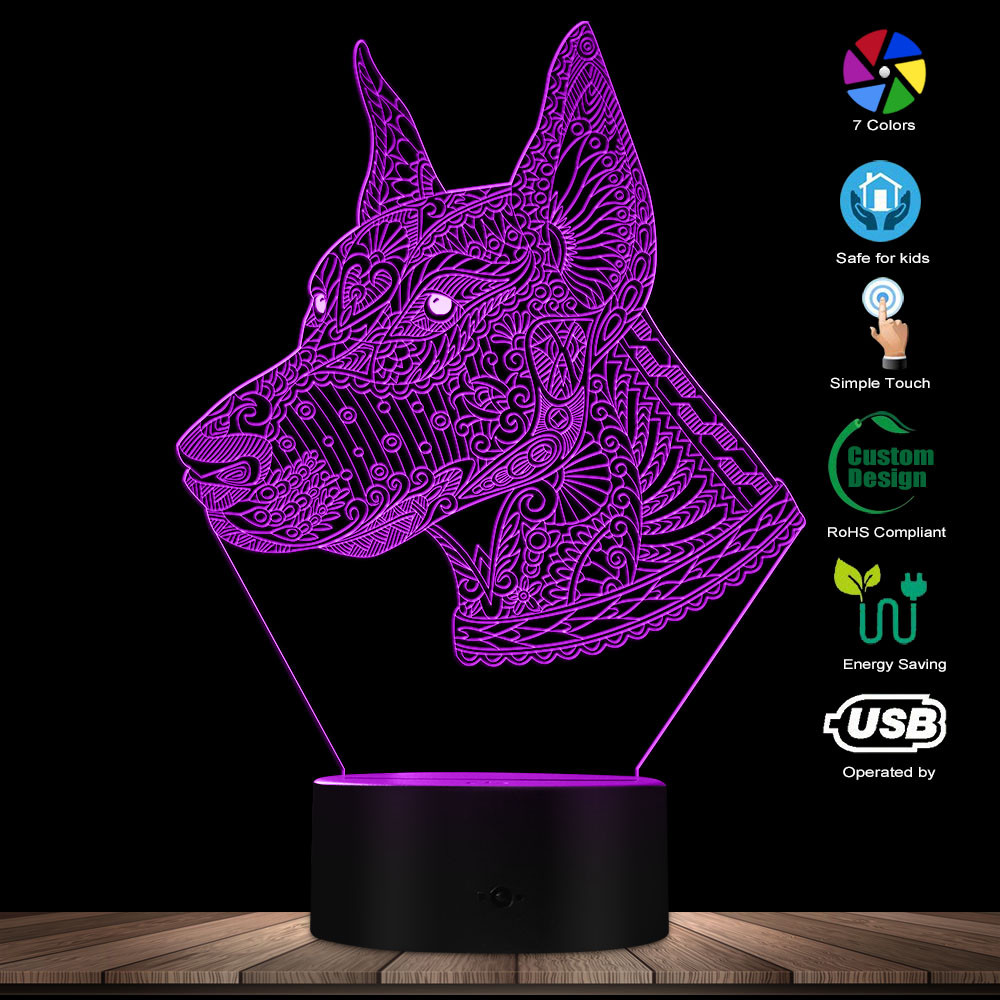 3D Mandala Style Doberman LED Illusion Night Light Custom Name Puppy Dog Pet Table Lamp Pet Guard Dog Kid Room Night Light Gift