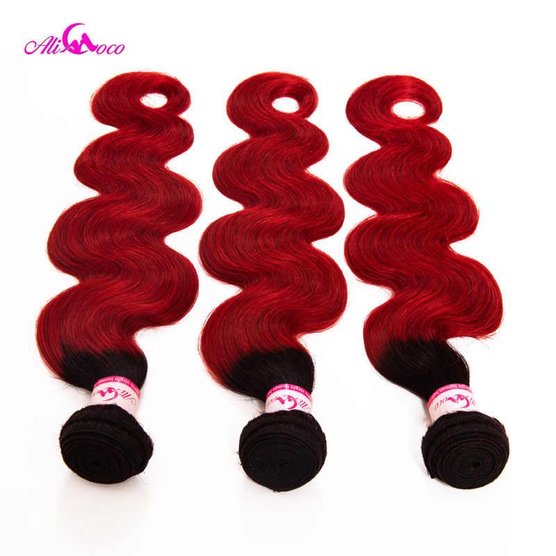 Paquetes de pelo de onda del cuerpo de Ali Coco 1B/paquetes de tejido de pelo brasileño rojo 12-30 pulgadas 3 paquetes Remy extensiones de cabello humano doble trama