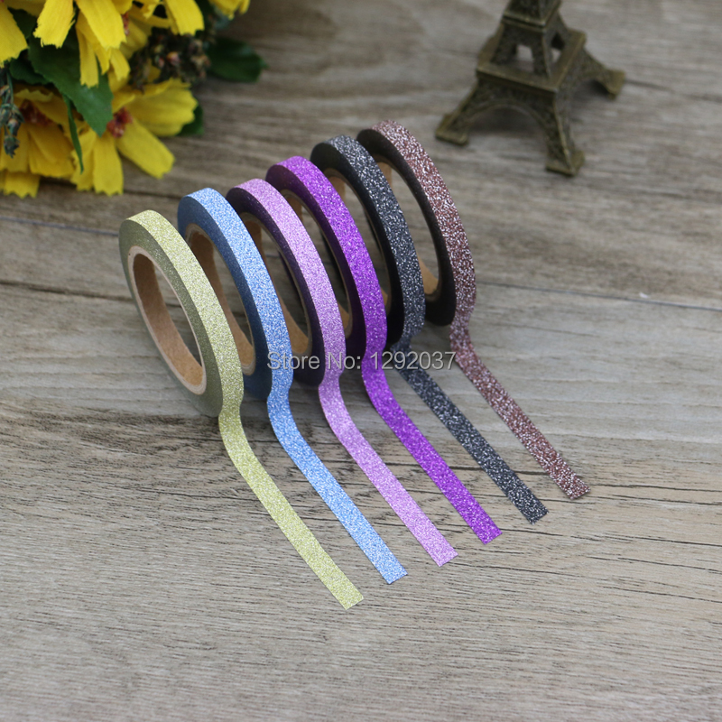 6 Colors/Lot Kawaii Solid Glitter Tape Set 5mm X 6.5m Scrapbooking Planner Stickers-Craft Supplies-Cute Washi Tape Masking Tape