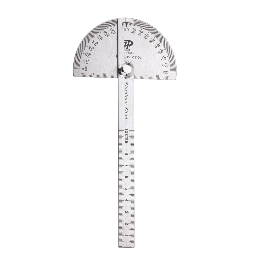 10cm Round Head 180 Degree Protractor Angle Finder Rotary Stainless Steel Measuring Ruler Machinist Tool Craftsman Digital Ruler angle ruler protractor stainless steel rulers with 180 degree angle square woodworking 10cm length high precision angle ruler