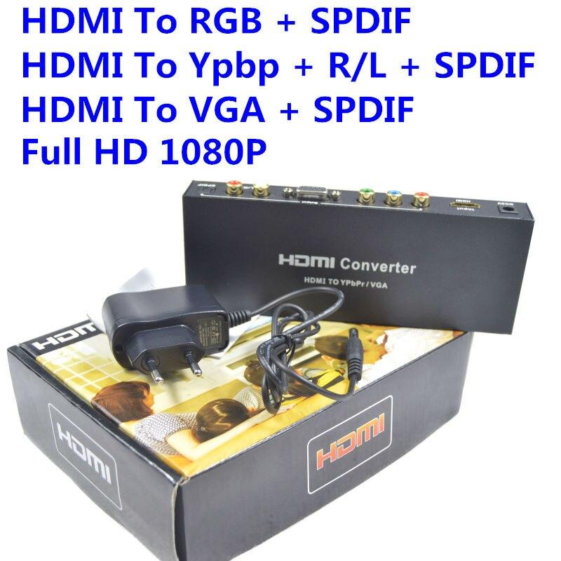 BrankBassHDMI to RGB Component YPbPr Audio Video Adapter HDMI to VGA /SPDIF/RL Converter Support 5.1CH Surround Sound  ypbpr to hdmi converter 5rca component audio video scaler adapter