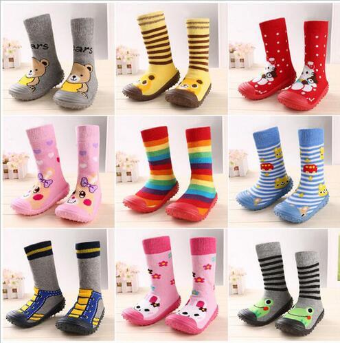 2016 Fashion Newborn Baby Boy Girl Socks Anti Slip Newborn Animal Cartoon Shoes Slippers Boots Soft Rubber Soled Outdoor Shoes