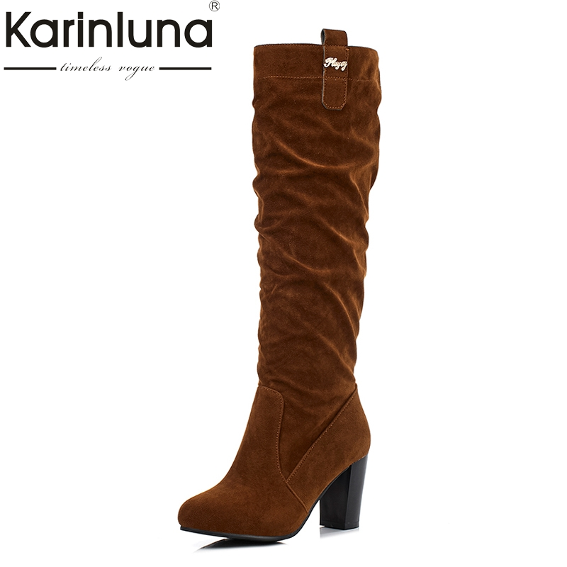 KARINLUNA Large Size 32-47 Customized Retro Women Boots High Heels Winter Shoes Woman Fashion Flock Slip On Riding Boots morazora fashion punk shoes woman tassel flock zipper thin heels shoes ankle boots for women large size boots 34 43