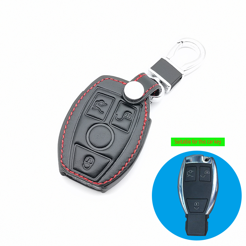 Classic key case for Mercedes Benz CLS CLA Class SLK AMG GL R A B C S 3 buttons car key leather case protection accessories image