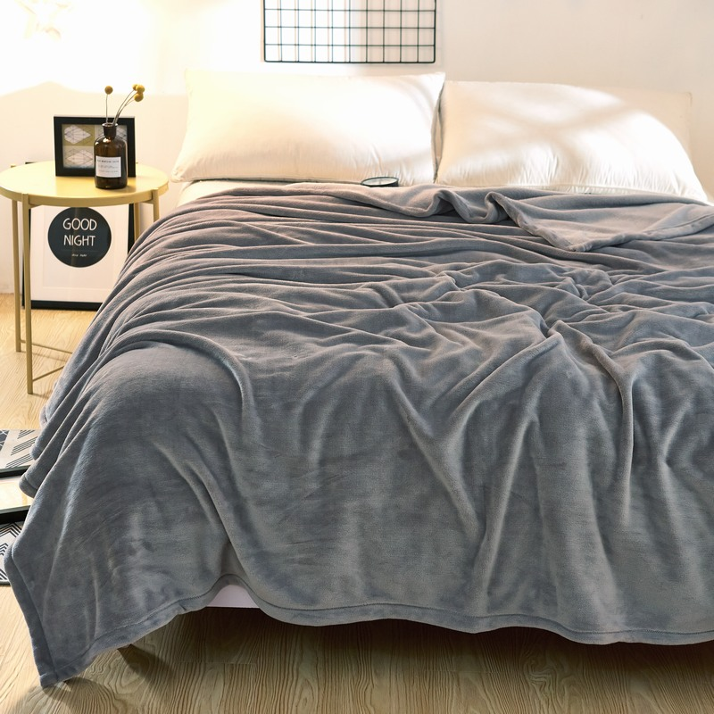 solid color bed blanket purple flannel blankets for bed throw blanket king size 200x230cm. Black Bedroom Furniture Sets. Home Design Ideas