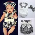 Bebê recém-nascido Bodysuit Menina Tops Sem Mangas + Short Listrado Headband 3 pcs Bottoms Roupas Sunsuit REINO UNIDO Bonito Do Bebê Roupa Da Menina
