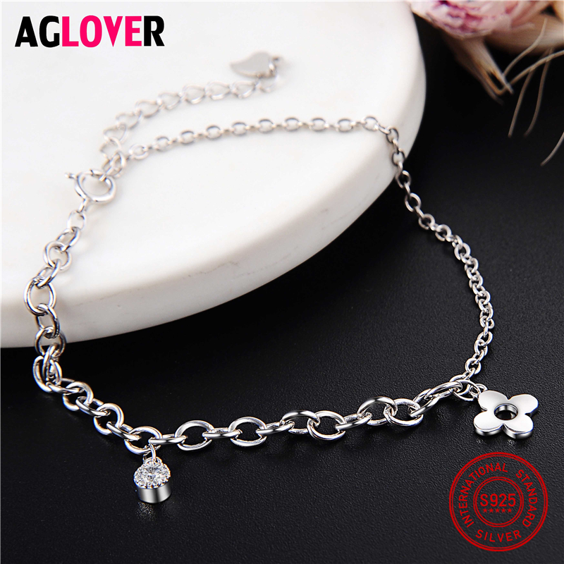 Fashion Silver Four Leaf Clover Bracelet 925 Sterling Silver Women Accessories AAA CZ Bracelets Valentine 39 s Day Gift in Bracelets amp Bangles from Jewelry amp Accessories