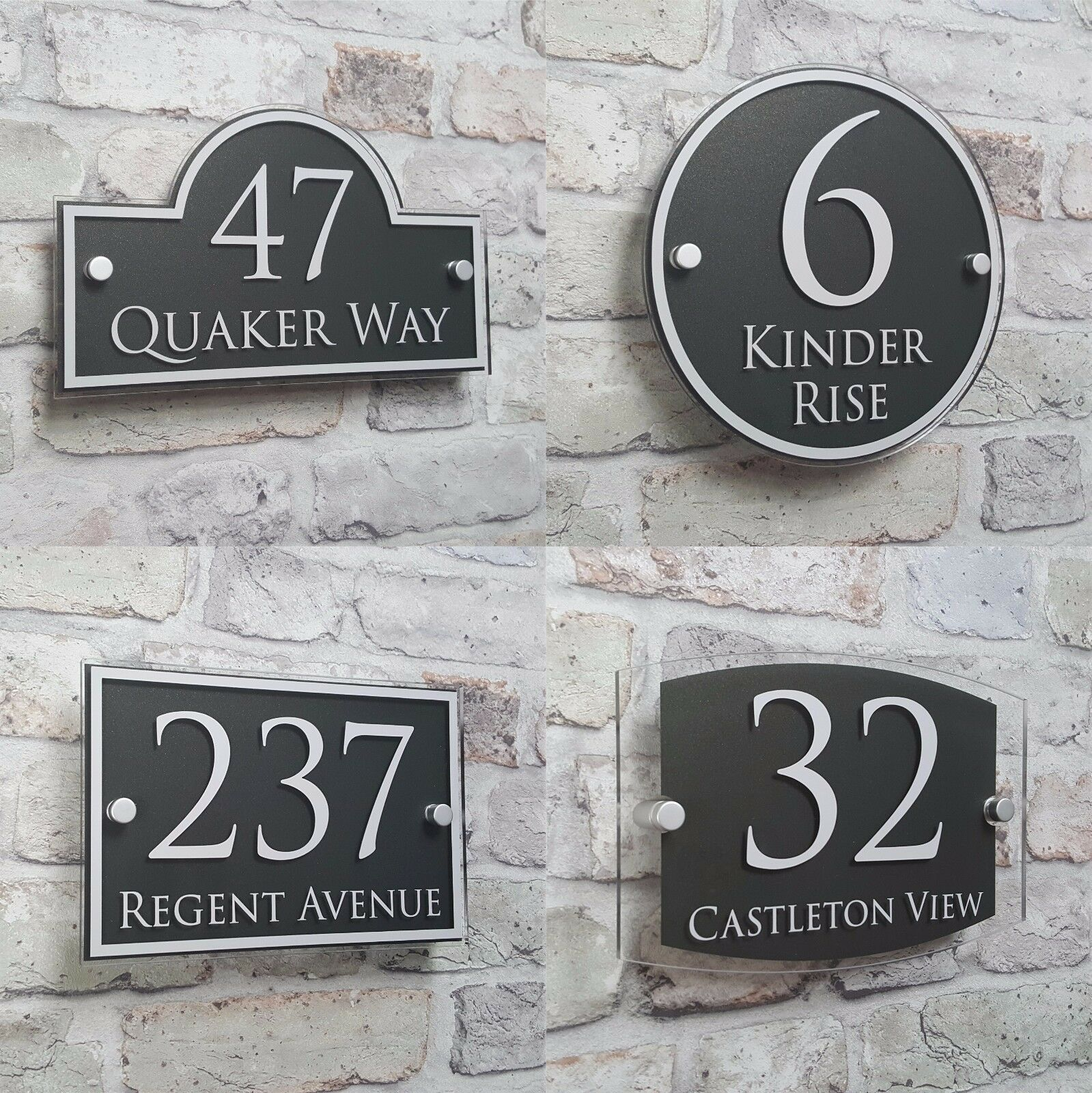 Customize Modern House Address Plaque Door Number Signs Name Plates Glass Effect Acrylic