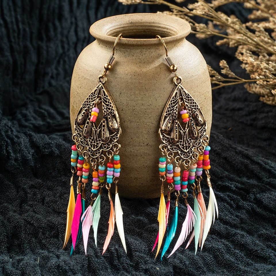 Golden Silver Vintage Ethnic Long Rainbow Feather Tassel Dangle Drop Earrings for Women Female 2018 Indian Jewelry Accessories