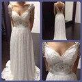 2016 Lace Anna Campbell Vestido de Casamento Backless Vestidos De Novia Lace Vestidos de Noiva com Frisos