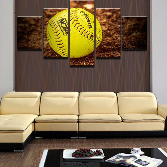 Canvas Painting Modular Frame Picture Wall Art Home Decoration For Living Room 5 Panel Tennis Ball Modern Printing Type YGYT-in Painting & Calligraphy ...