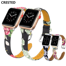 CRESTED Leather Strap For Apple Watch 4 Band 44mm 40mm correa Iwatch Series 4 3 2 1 42mm/38mm wrist link Bracelet Watchband belt цена