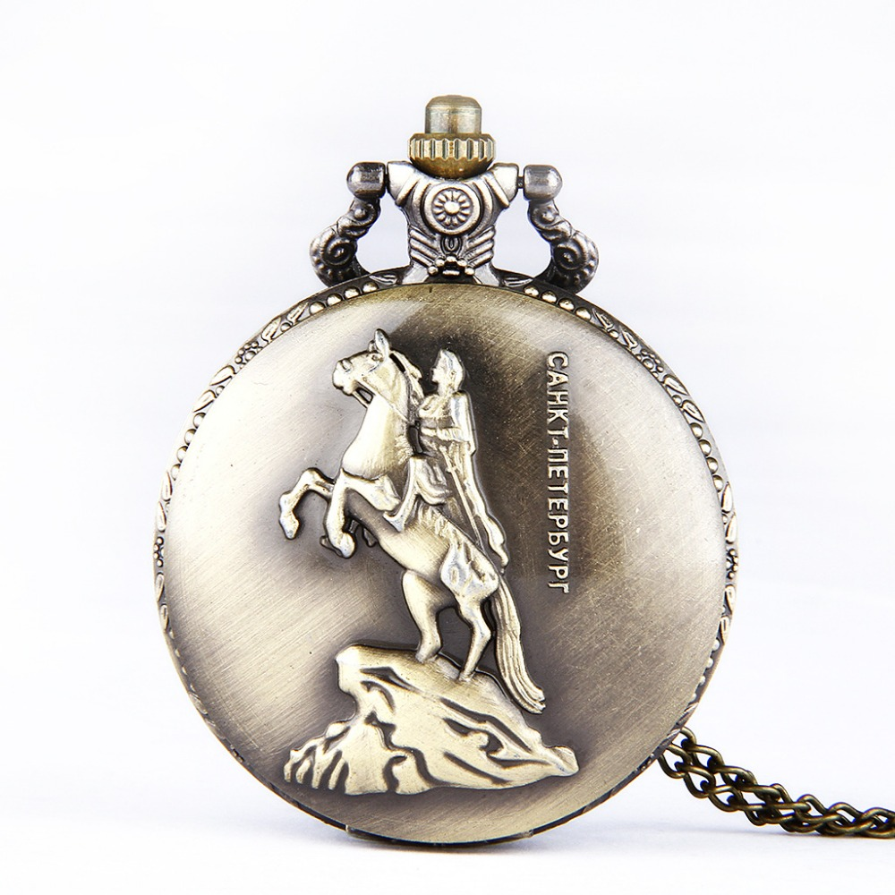 Knight Pentium Embossed Retro Pocket Watch Polished Bronze Dress Casual Men Gifts Fashion Men's Watch