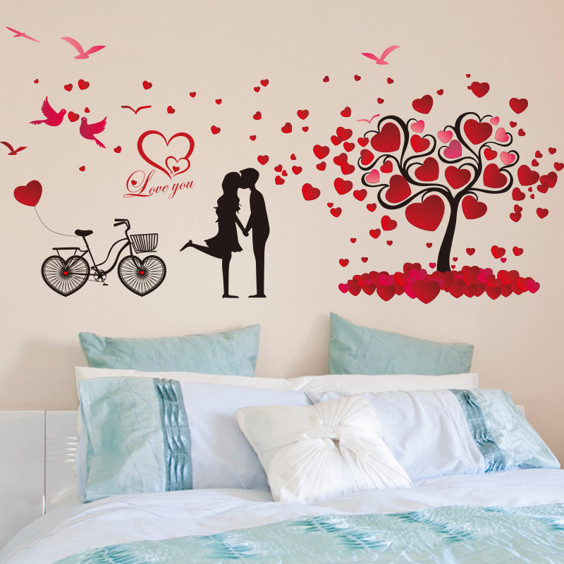 % Romantic love tree couple birds bicycle removable wall sticker for wedding bedroom living room bedside mural decal home decor ...