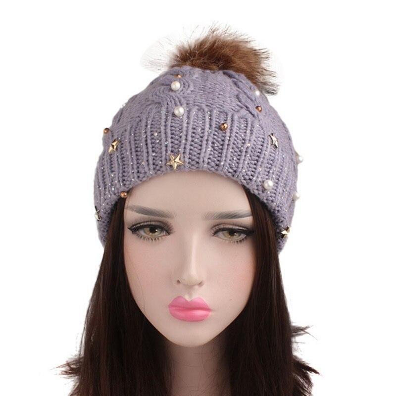 Winter Hats For Women Lady Acrylic Handmade Rhinestone Star Beanies Artificial Fur Ball Soft Headwear Accessories Newest in Women 39 s Skullies amp Beanies from Apparel Accessories