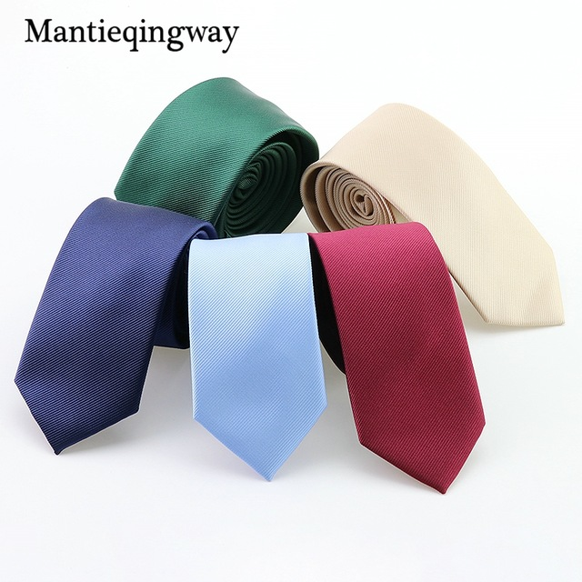 Mantieqingway poliészter vékony nyakkendő nyakkendők férfiaknak esküvői ruha vékony nyakkendő klasszikus egyszínű nyakkendő alkalmi cukorka 6cm nyakkendő