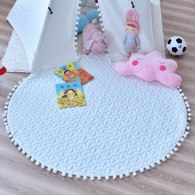 White Canvas Baby Play Game Crawling Pompom Padded Quilted  Play Mat Teepee Mat Nursery Rug 110cm Diameter
