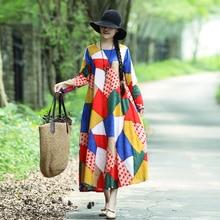 e5e1557e9 Buykud 2018 Women Autumn New Printed Retro Maxi Dress Round Neck Long Long  Sleeve Loose Fashion