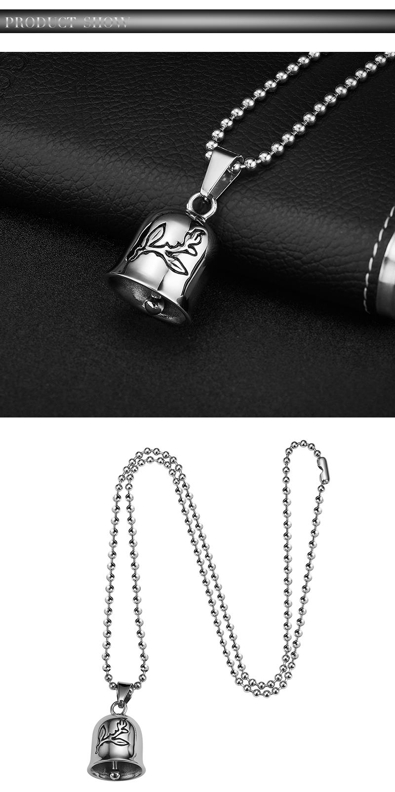 Cool Bell Pendant 316L Stainless Steel Sliver Bell Clock Pendant with Necklace for Biker Men