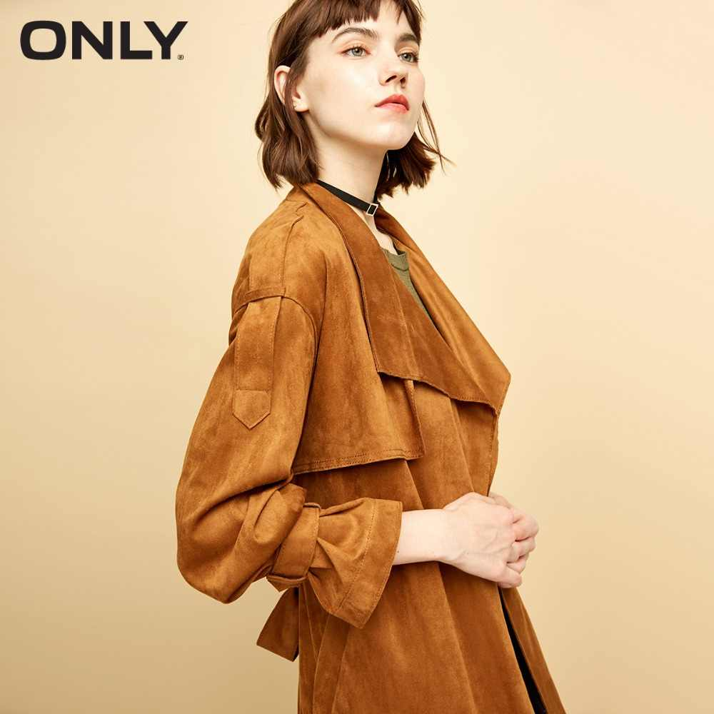 ONLY Women's  new suede buckle buckle trenchcoat | 118336569